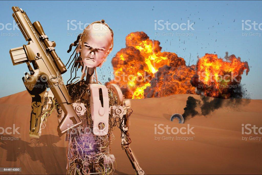Robot Warrior stock photo