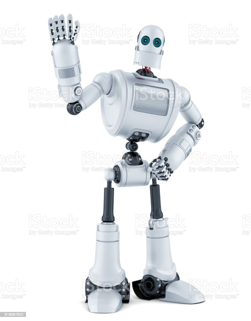 Robot waving hello. Isolated. Contains clipping path. stock photo