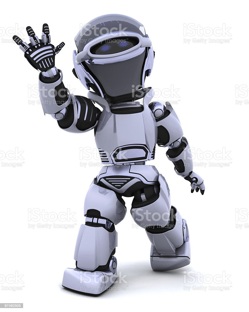 Robot waving royalty-free stock photo