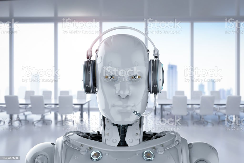 robot wear headset stock photo
