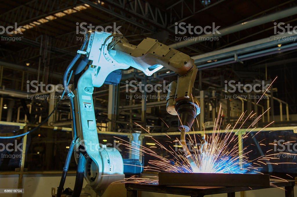 Robot welding in car factory stock photo