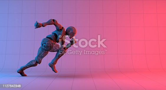 istock Robot wireframe fast run on gradient red violet background 1127542348