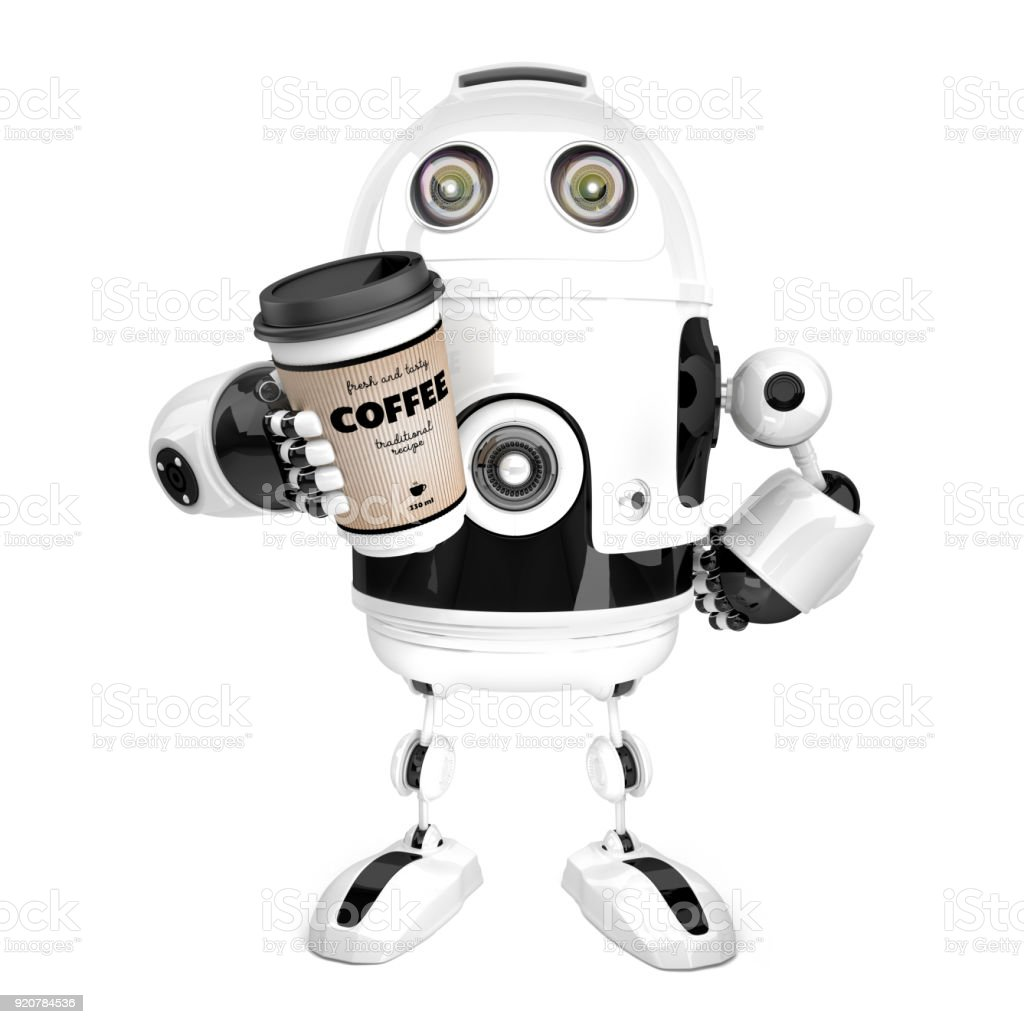 Robot with a cup of coffee. 3D illustration. Isolated. Contains clipping path stock photo