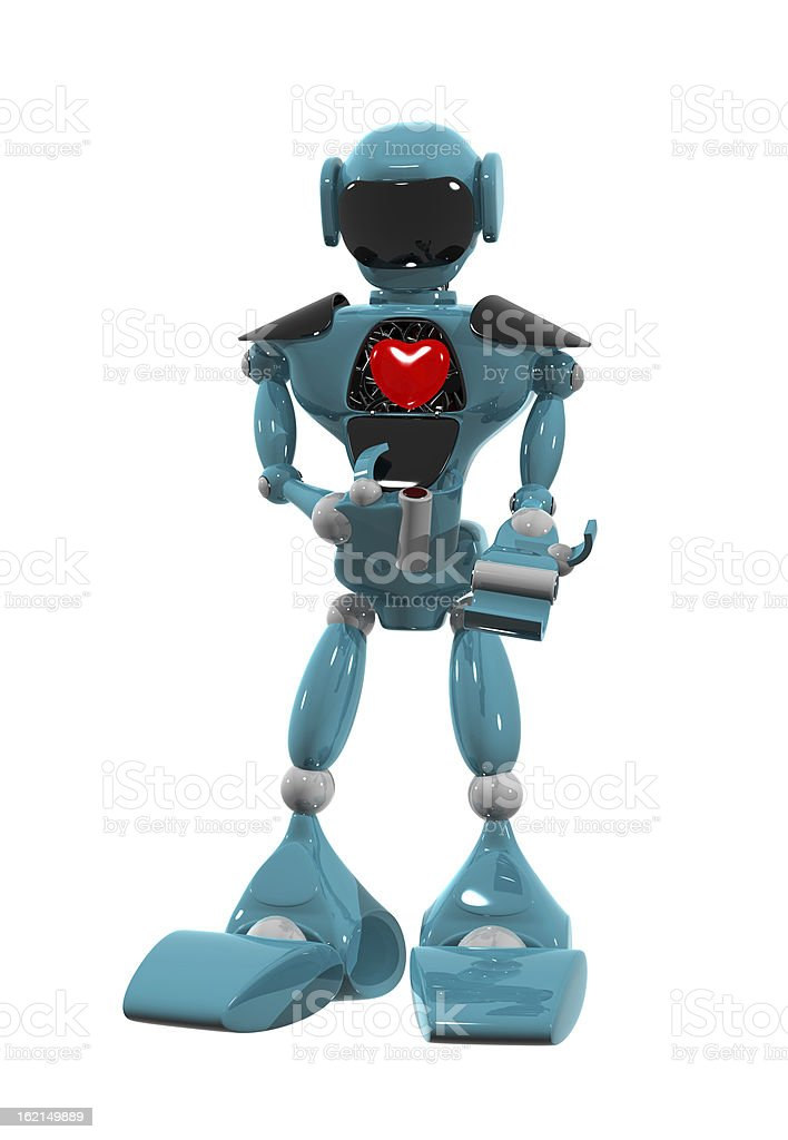 Robot with a heart royalty-free stock photo