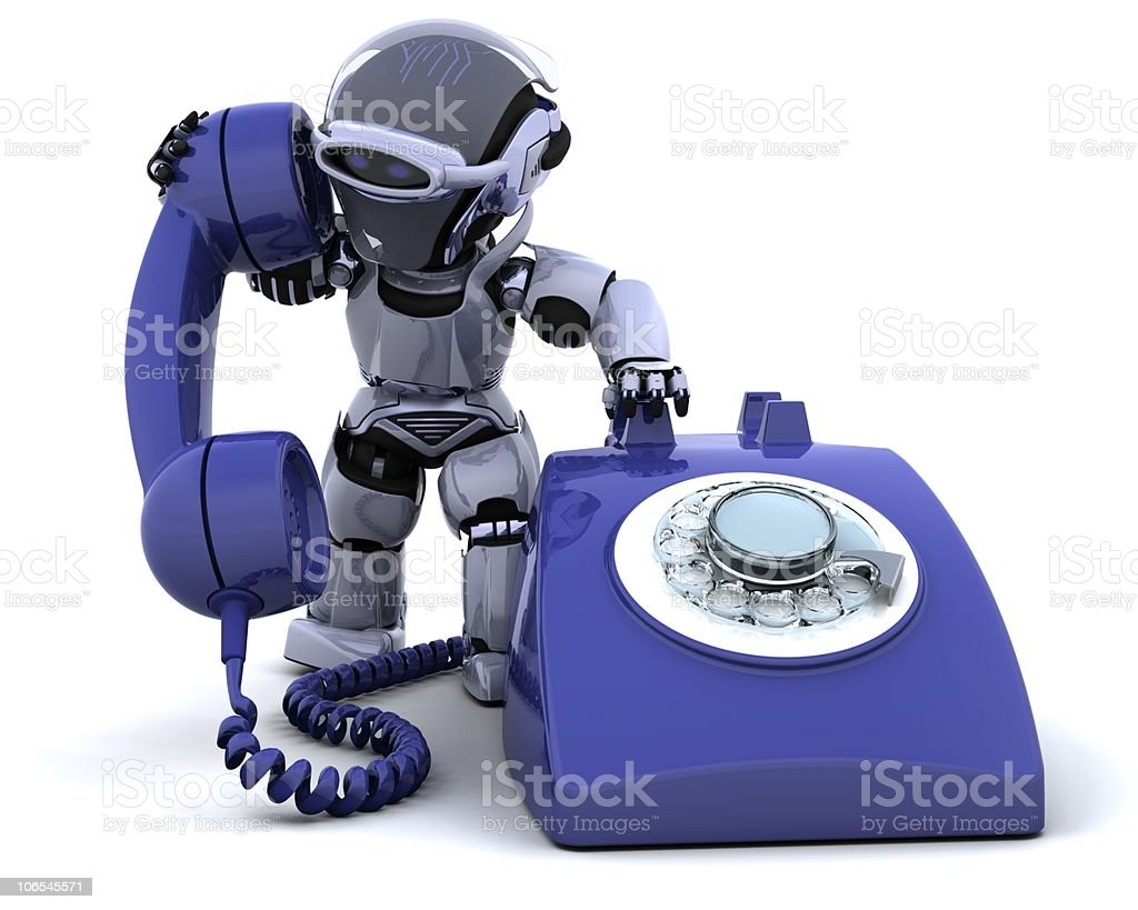 robot with a traditional telephone stock photo