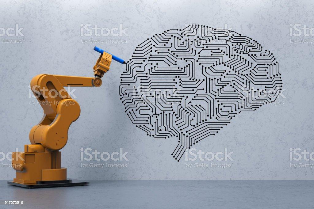 robot with ai brain stock photo