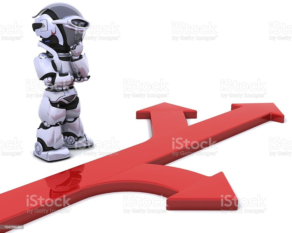 robot with arrow symbol royalty-free stock photo