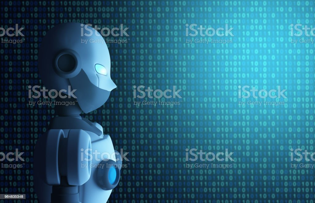 Robot with binary data code, artificial intelligence in futuristic technology concept, 3d illustration royalty-free stock photo