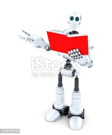521048154 istock photo Robot with book. Isolated. Contains clipping path 519161744