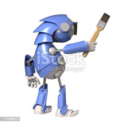 910163152 istock photo Robot with brush 177283572