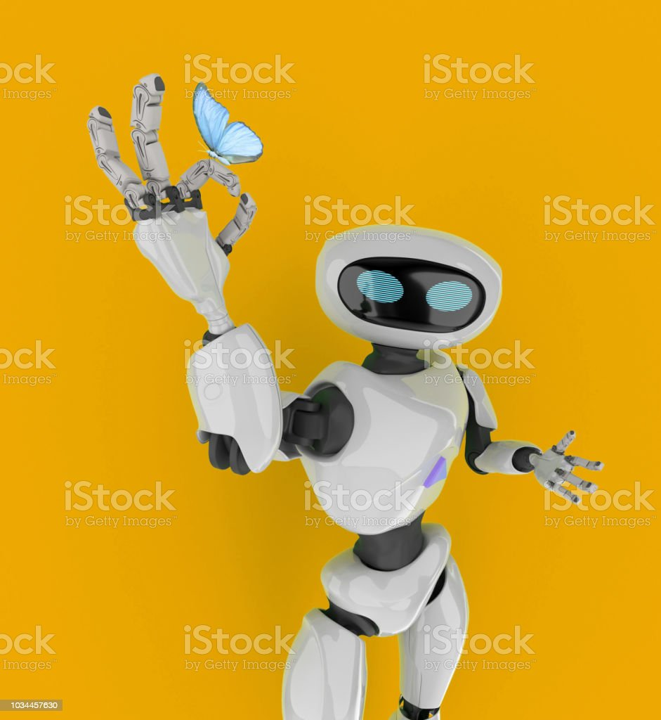 Robot With Butterfly 3d Render Stock Photo - Download Image