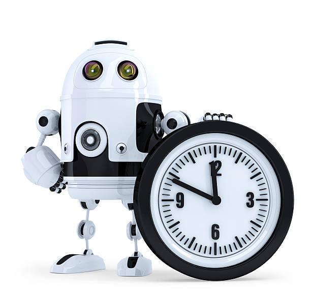 roboter mit radiowecker.   technologie-konzept.   isoliert.   mit clipping path  - sinn uhren stock-fotos und bilder