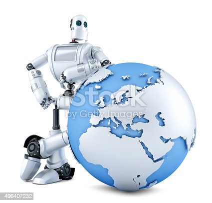 521048154 istock photo Robot with earth globe. Isolated. Contains clipping path 496407232