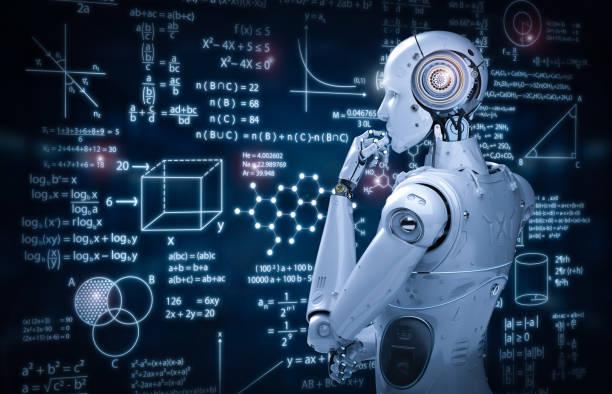 robot con educación hud - robot fotografías e imágenes de stock