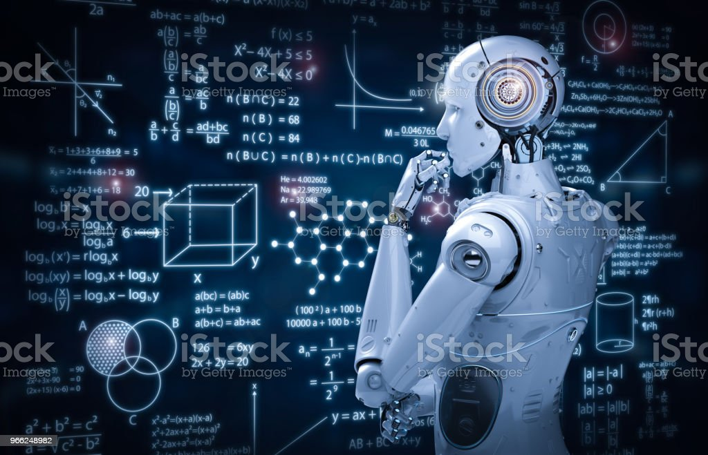robot with education hud stock photo