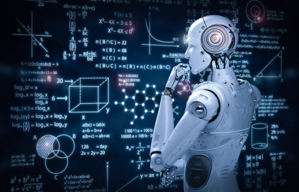 robot with education hud - ai stock pictures, royalty-free photos & images