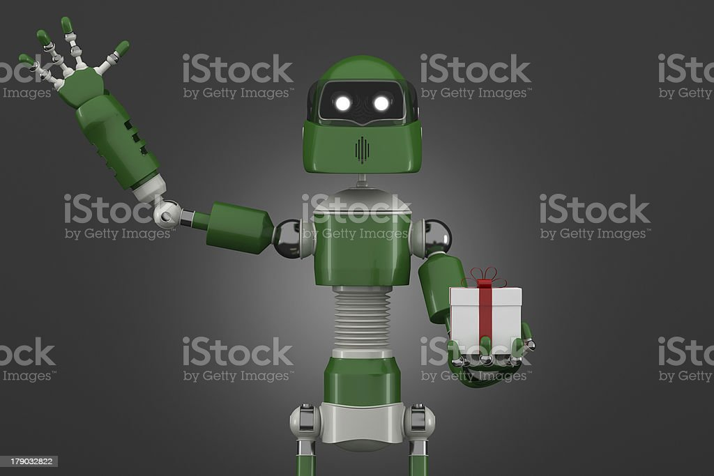 Robot with gift box royalty-free stock photo