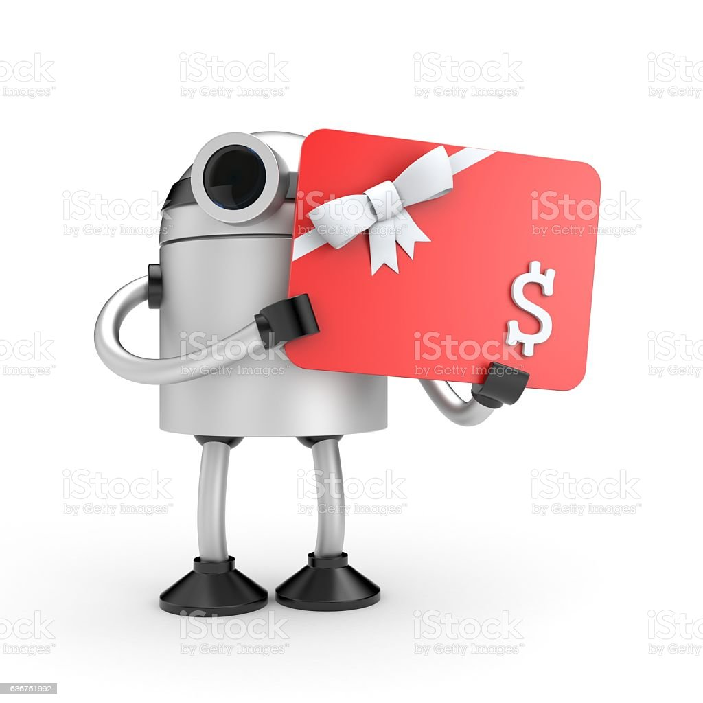 Robot with gift card stock photo