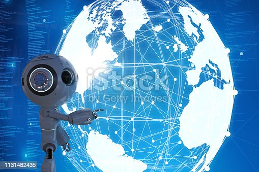 Globalization technology concept with 3d rendering robot with global connection