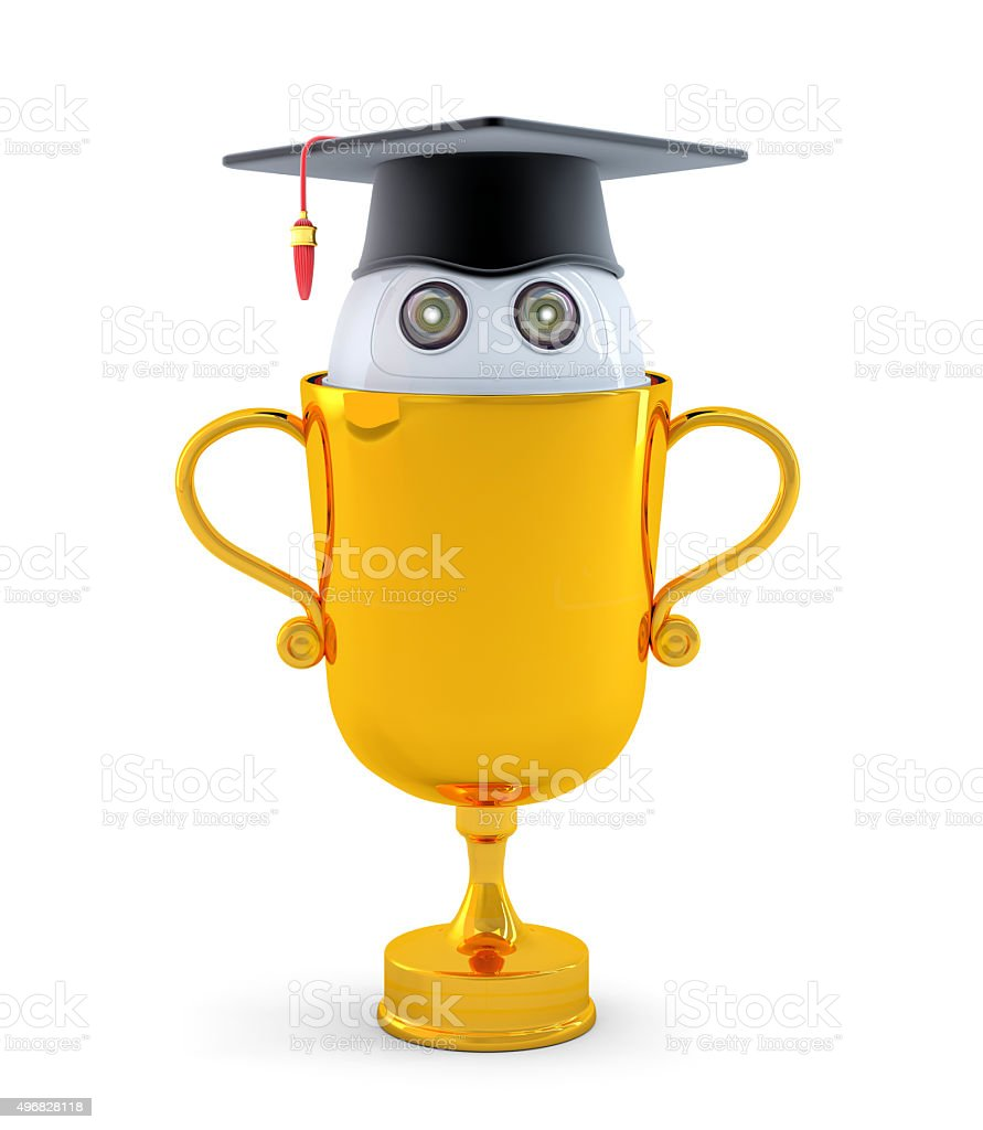 Robot with gold trophy stock photo