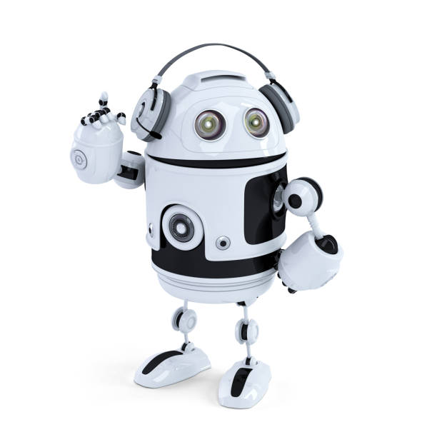 Robot with headphone. Isolated. Contains clipping path stock photo