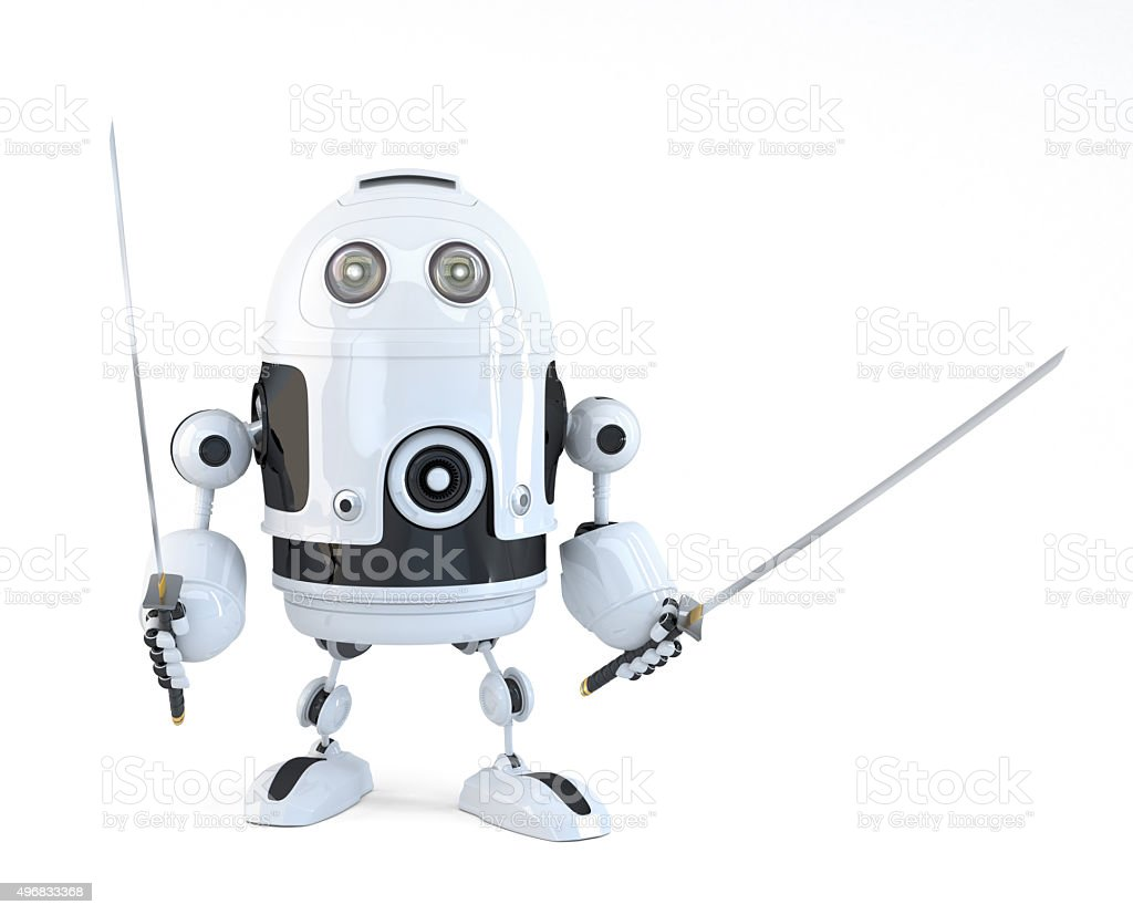 Robot with Katana. Technology concept. Isolated over white. Clipping path stock photo