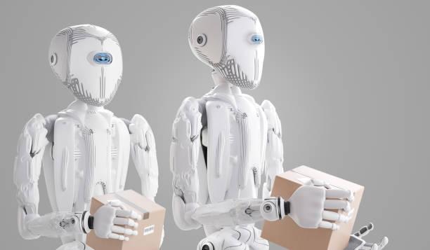Roboter mit Paket, künstliche Intelligenz 3D-Illustration – Foto