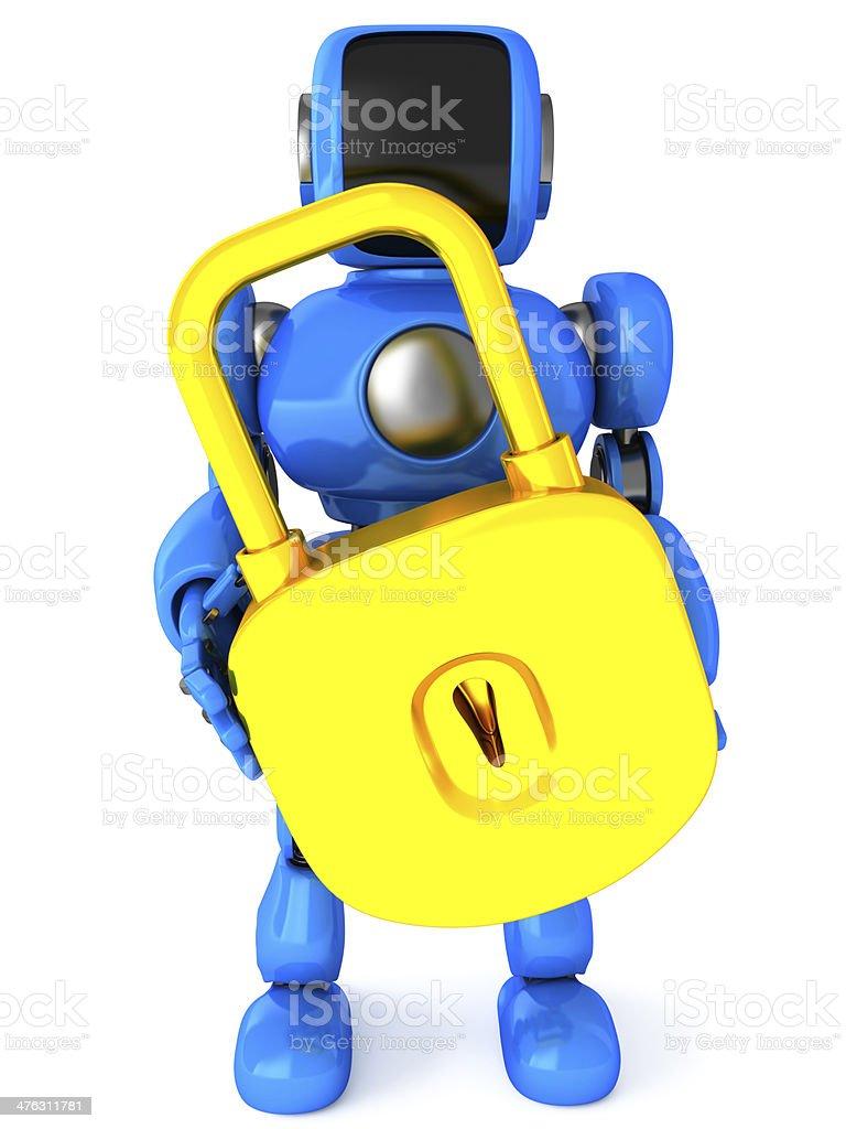 Robot with padlock royalty-free stock photo