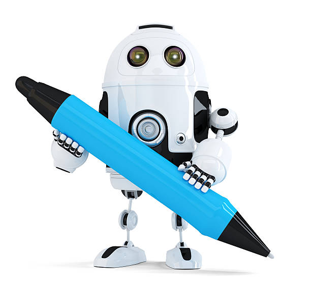 Robot with pen. Isolated on white. Contains clipping path stock photo