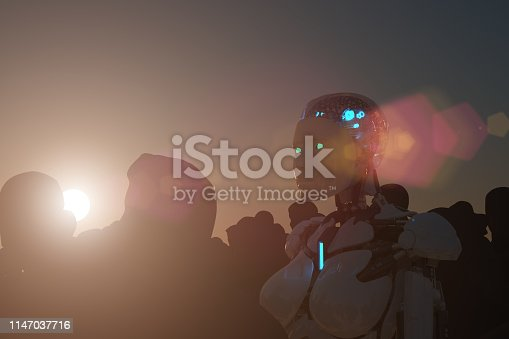 istock AI Robot with people 1147037716