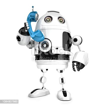 istock 3D Robot with phone tube. Isolated. Contains clipping path 1084807860