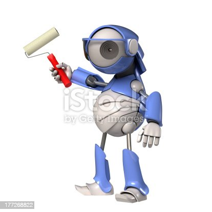 910163152 istock photo Robot with roller 177268822