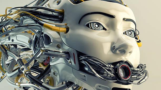 roboter mit abgerundeter mesh auf dem mund - haarschnitt rundes gesicht stock-fotos und bilder