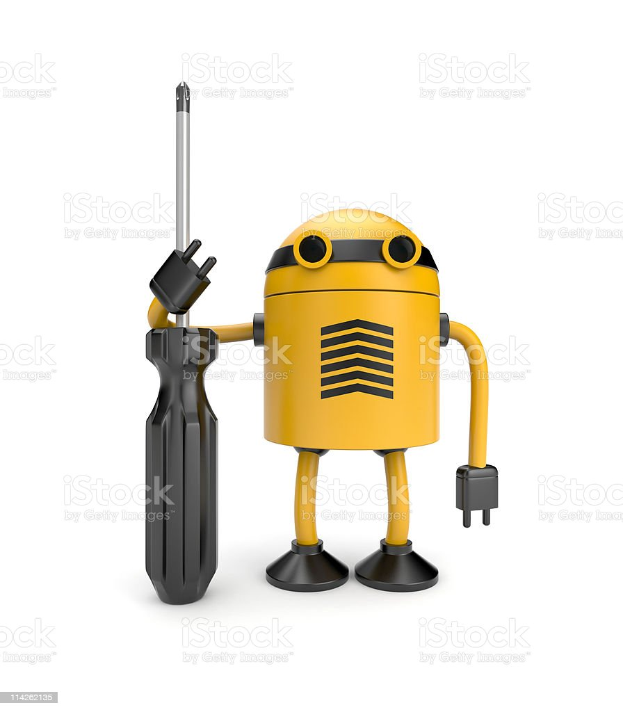 Robot with screwdriver royalty-free stock photo