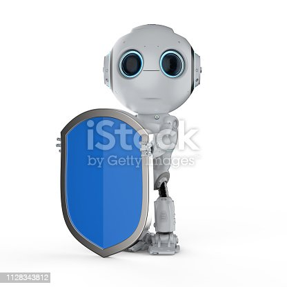 istock Robot with shield protection 1128343812