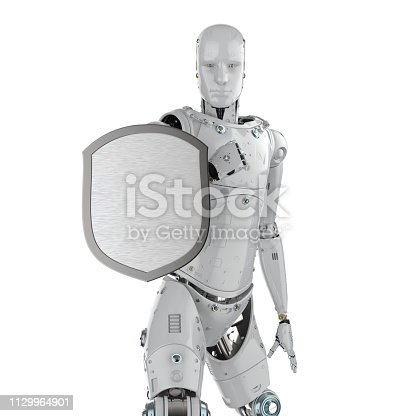 istock Robot with shield protection 1129964901