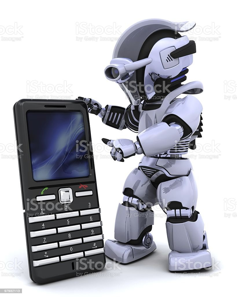 robot with smart phone royalty-free stock photo
