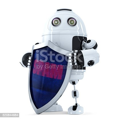 istock Robot with the shield. Spam protection concept. Isolated. Clipping path 520844684