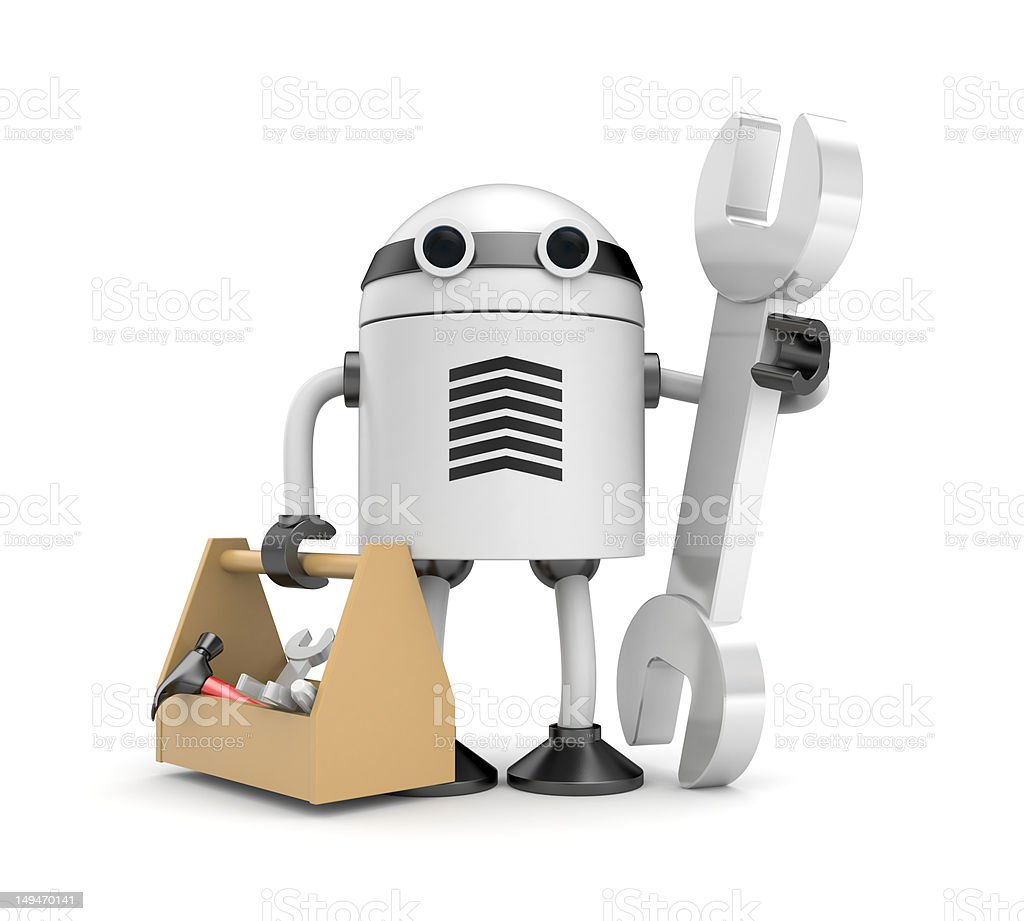 Robot with toolbox royalty-free stock photo