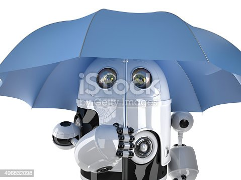 521048154 istock photo Robot with umbrella. Technology concept. Contains clipping path 496832098