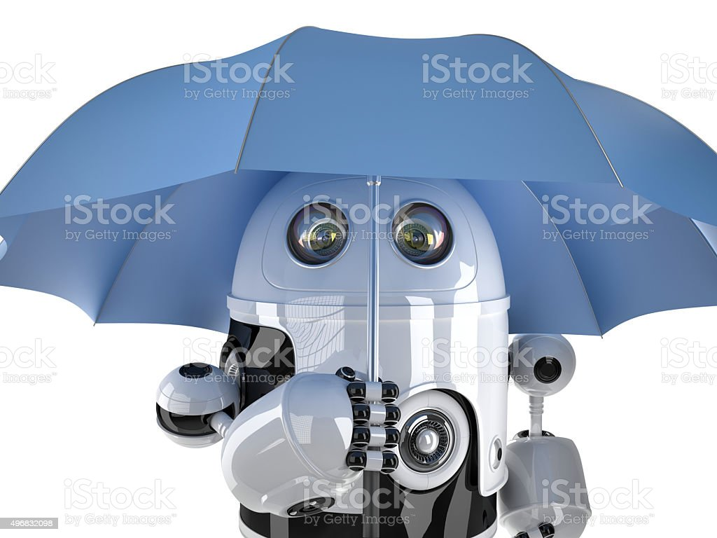 Robot with umbrella. Technology concept. Contains clipping path stock photo