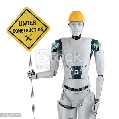 istock Robot with under construction sign 1157662009