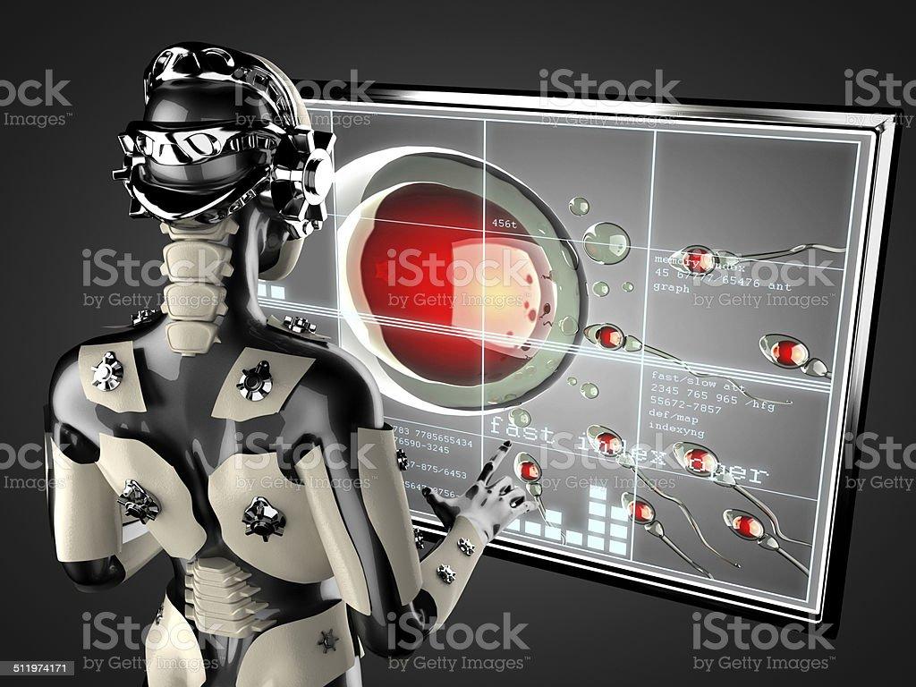 robot woman manipulating hologram displey stock photo