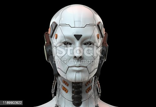 Technology Background wallpaper showing a Robot girl or a sci-fi android female can be used as an artificial intelligence concept - element of this image are generated 3d render