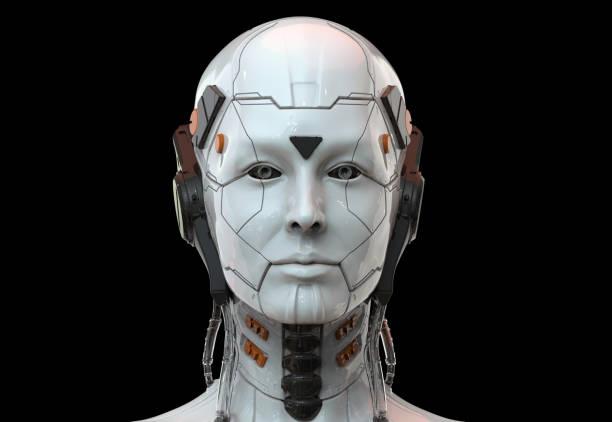 robot mujer, ciencia ficción androide mujer inteligencia artificial 3d render - robot fotografías e imágenes de stock