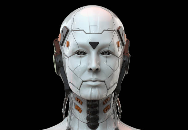 robot woman, sci-fi android female artificial intelligence 3d render - cybernetic stock pictures, royalty-free photos & images