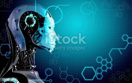 istock robot  women in technology background 514655403