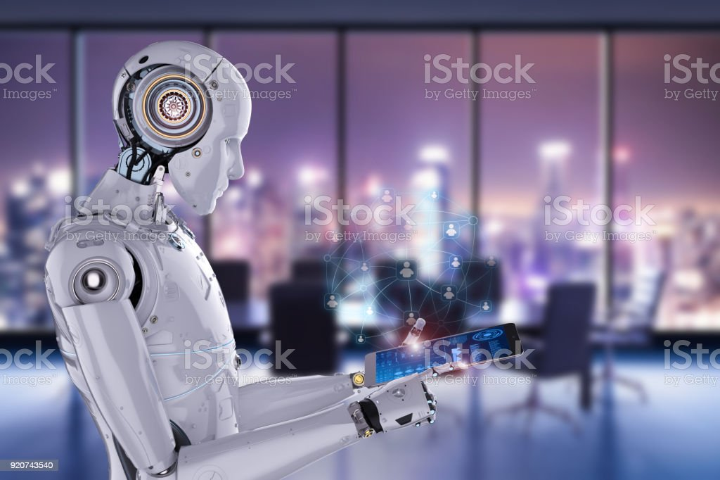 robot work on tablet stock photo