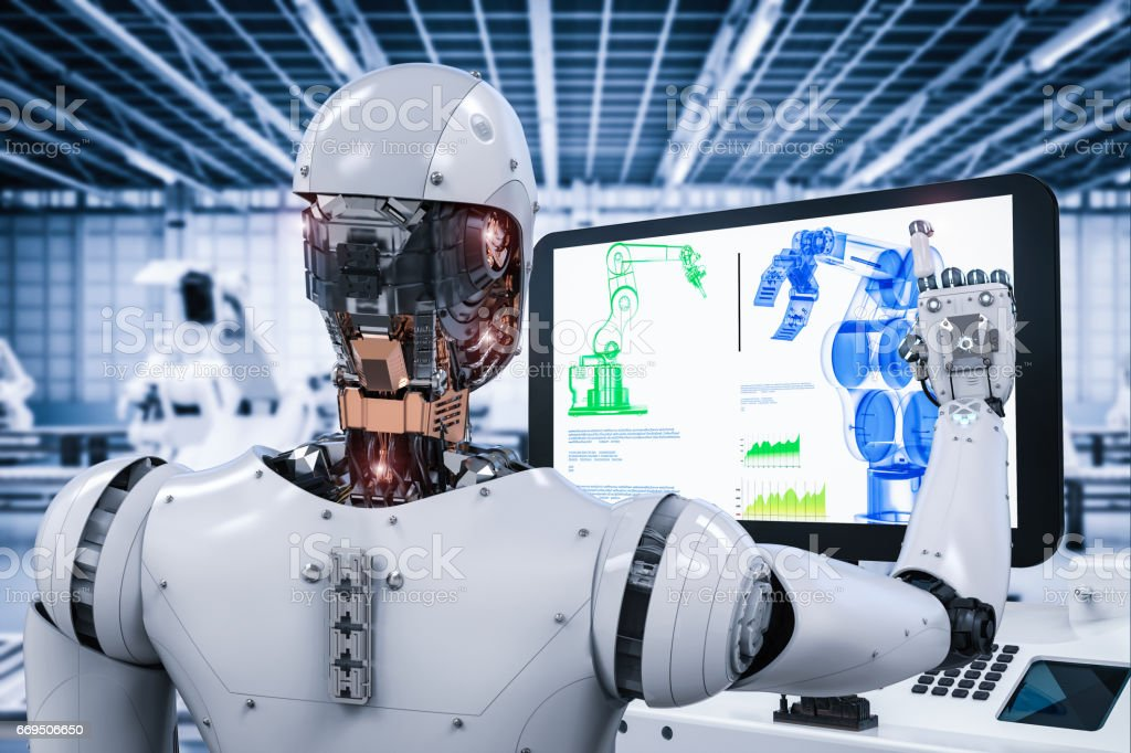 robot working in factory stock photo