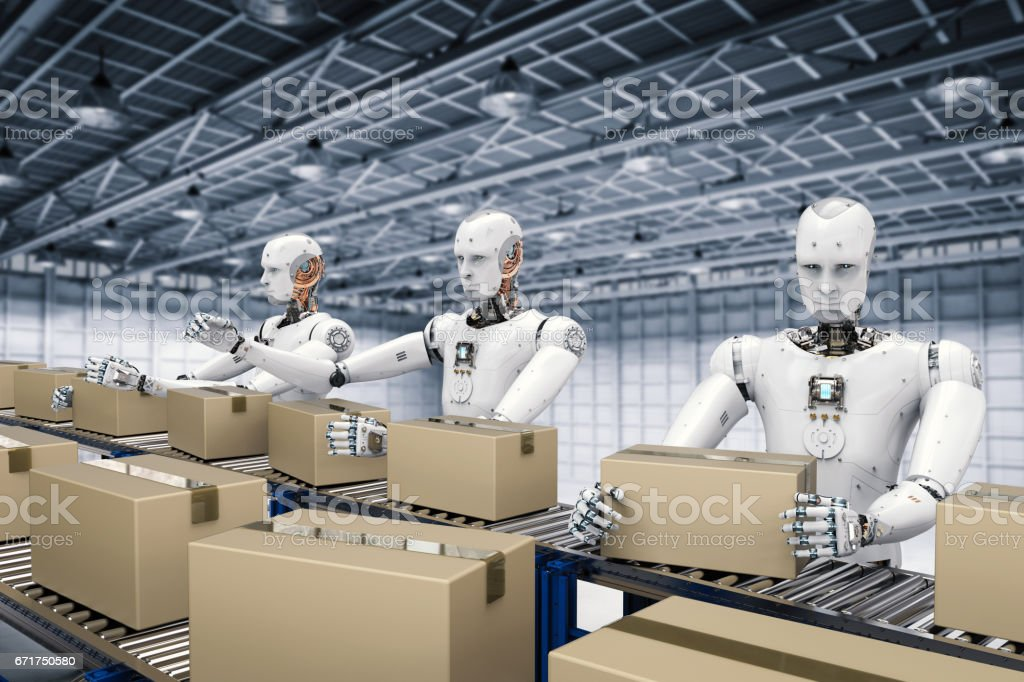 robot working with carton boxes stock photo
